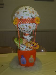 Hot air balloon diaper cake made by me. I love babies!!!   I think ...