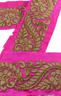 Crafts Embellishments & Finishes Reasonable Vintage Sari Border Antique Hand Beaded Trim Sewing Pink Zari Lace