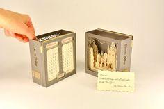 Kirigami, origami, 3d paper popup calendar 2017, unique gift, paper craft, paper art, Czech Prague Charles Bridge miniature, desk calendar