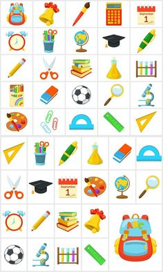 Bright icons for school Toddler Activities, Preschool Activities, Teaching Kids, Kids Learning, Pumpkin Coloring Pages, Hebrew School, Kids Schedule, School Icon, School Clipart