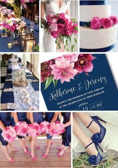 Gorgeous navy and pink wedding theme. Invitations by Posh Paper.