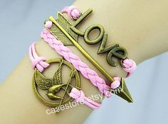 pink leather braceletcatching fireleather by charmcover on Etsy, $7.99