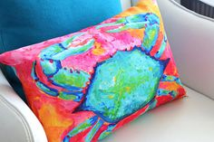 Crab Pillow Crab Decor Sea Creature Pillow Nautical Pillow by coastal artist Alexandra Nicole Newton