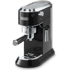 Delonghi Dedica Espresso Coffee Machine Black (3.960.370 IDR) ❤ liked on Polyvore featuring home, kitchen & dining, small appliances, espresso coffee machines, delonghi coffee maker, delonghi coffee espresso machine, delonghi espresso coffee maker and delonghi coffee pods