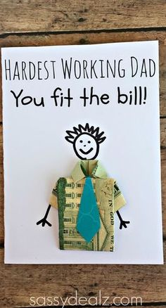 Dollar Bill Origami T-Shirt Father's Day Card For Kids to Make
