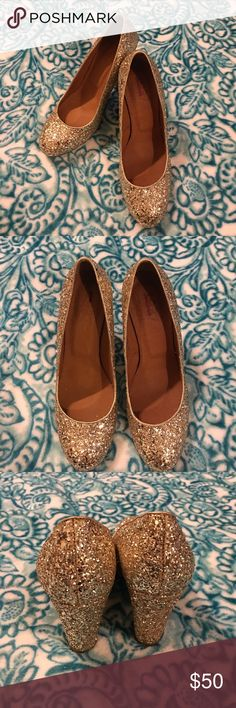 J. Crew Glitter pumps Super cute j. crew glitter heels. Worn a few times EUC. Some glitter on the right shoe has came off (pictured) but that is normal. *made in italy* J. Crew Shoes Heels