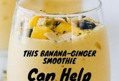 ONLY TWO CUPS OF THIS DRINK EVERY DAY FOR 1 WEEK AND YOUR STOMACH WILL BE 100% FLAT - Healthy Life Banana Is Rich In, Ginger Smoothie, Digestion Process, Frozen Blueberries, Natural Sugar, Natural Solutions, Alternative Medicine, Detox Drinks, Healthy Tips