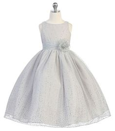 Girls Dress Style D746- Sleeveless Dress with Glitter Flocking in Choice of Color