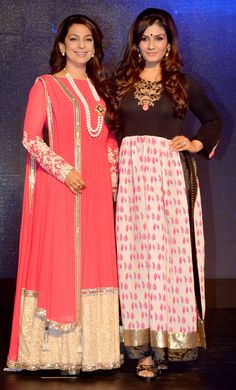 Juhi Chawla with Raveena Tandon at the launch of Sony Pal TV channel. #Style #Bollywood #Fashion #Beauty
