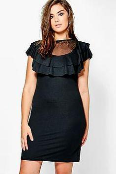 Plus Rosie Mesh Ruffle Bodycon Dress