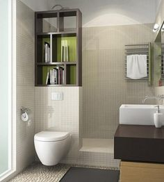 Narrow bathroom, space saving layout