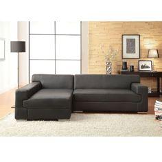 Canapé cuir buffle 5 places d'angle gauche noir - 550€