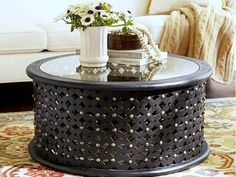 copper drum coffee table