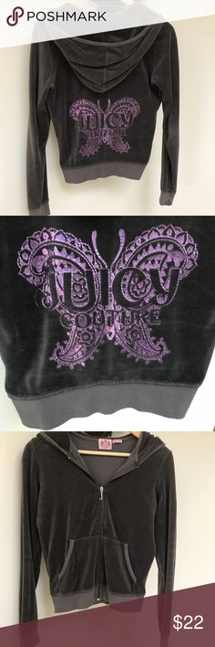Juicy Couture Velour Jacket Dark gray with purple butterfly logo on back. Juicy Couture Jackets & Coats