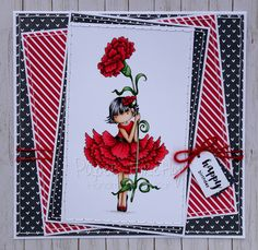 Bold red and black layered card with Tiny Townie Garden Girl Carnation by Stamping Bella
