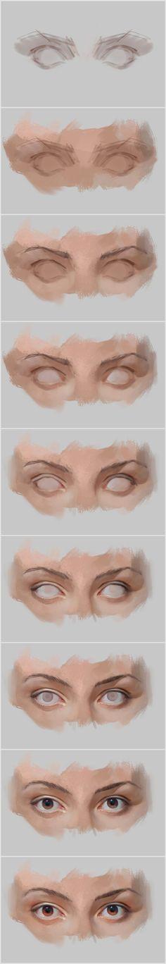 70 ideas eye drawing tutorial step by step digital paintings Digital Painting Tutorials, Digital Art Tutorial, Art Tutorials, Drawing Tutorials, Digital Paintings, Oil Paintings, Process Art, Painting Process, Painting & Drawing