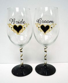 Personalized Wedding Wine Glasses - bride and groom wine glass - hand painted glass - custom glass