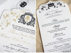 Luxury Wedding Invitations by Ceci New York - Our Muse - Masquerade Wedding - Be inspired by Athena & Michael's masquerade wedding - Ceci Ne. Masquerade Wedding Invitations, Black Wedding Invitations, Wedding Invitation Inspiration, Wedding Invitation Wording, Invitation Ideas, Invites, Wedding Of The Year, Wedding Programs, Mardi Gras