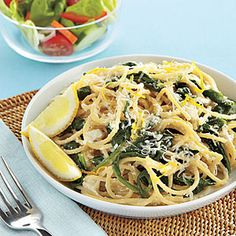 Ingredients  Salt and pepper   1 pound spaghetti   1 cup whole-milk ricotta   2 tablespoons olive oil   1 1/2 teaspoons grated lemon zest   1/8 teaspoon nutmeg  1 5-oz. bag baby spinach