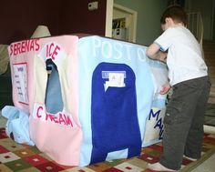 Felt playhouse with ice creamery, bank, post office, and grocery store!