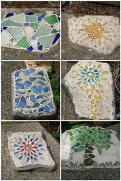 Cool mosaic stepping stones and rocks