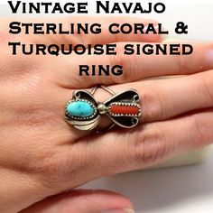 1 DAY SALE Vtg Navajo SS Turquoise & Coral Ring This is a Beautiful Native American Vintage Sterling Silver Navajo Tribe Turquoise & Coral Ring. Signed J. Taxied for Julian Yazzie! Tested & Confirmed 925 Sterling Silver. The ring is 30mm by 2.5mm. This is a beautiful stone ring that will get lots of compliments! If you love vintage Sterling jewelry and/ or Native American jewelry, this is the ring for you! Please don't hesitate to ask any questions. Make reasonable offer using the offer…