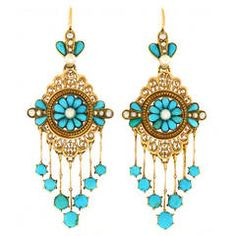 Antique French Turquoise Gold Chandelier Earrings