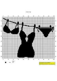femme - woman - broderie - embroidery - lingerie Corde à linge - Point de croix - Blog : http://broderiemimie44.canalblog.com/