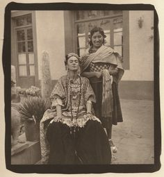 Frida and a servant (?) - this was taken shortly before she passed, 1954.