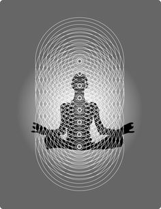 "THE HUMAN BIO ENERGY BLUEPRINT.  ""From the perspective of quantum biology, the human body is a hologram composed of intersecting lines of bio energy. This figure shows how the vertical, light-processing chakras interface with the horizontal, sound-generated bio energy fields to create the geometric matrix necessary for physical manifestation."" Text & image from CONSCIOUS HEALING by Sol Luckman."