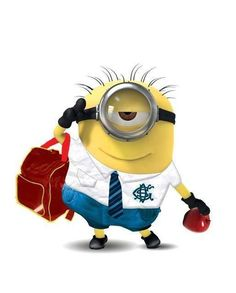 Minion on his way to boarding school