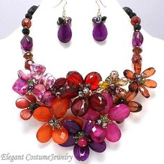Dazzling Purple Pink Red Chunky Flower Necklace Set #1770 - $45.99