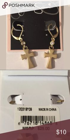 3682e0932033 Jessica Simpson Goldtone Religious Cross Earrings Goldtone earrings are  about 1 inch long. Location RR Jessica Simpson Jewelry Earrings