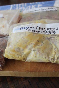 Freezer marinades - Dijon chicken, Asian chicken marinade, Slovakia chicken marinade, and Raspberry Balsamic Chicken Marinade