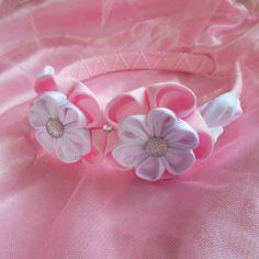 Pink woven headband with kanzashi style by Lulushandmadestuff