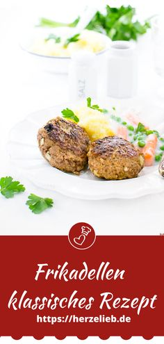 Fleisch Rezepte, Hausmannskost Rezepte: Rezept für Frikadellen, Buletten, Bratklopse, Fleischpflanzerln, Fleischlaberl, Fleischküchle oder Faschierte Laibchen wie von Oma von herzelieb! Einfach, schnell und gut! #mittagessen #klassisch #herzelieb #fleisch #abendbrot #hack #hackfleisch Catering, Salmon Burgers, Baked Potato, Potatoes, Tasty, Foodblogger, Meat, Baking, Ethnic Recipes