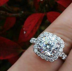 Ritani cushion halo engagement ring - photo courtesy of providence diamond company