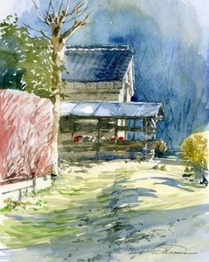 Beautiful Sendai Landscape Watercolor Painting by Osamu Shibata.|CutPasteStudio|Illustrations, Entertainment, beautiful,creativity, Art, Artwork, Artist, nature, drawings, paintings, watercolor paintings, nature.