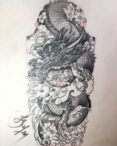 Original dragon drawing of a new sleeve design by aka did this tattoo outline at the last NYC trip. Japanese Dragon Tattoos, Japanese Tattoo Art, Japanese Tattoo Designs, Japanese Sleeve Tattoos, Dragon Tattoo Meaning, Dragon Tattoo Designs, Tattoo Sleeve Designs, Tattoos With Meaning, Celtic Sleeve Tattoos