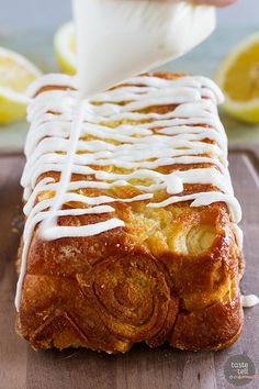 Sweet and lemony, this Lemon Roll Pull-Apart Bread is a great mash up of lemon rolls and pull apart bread. You won't be able to stop at just one piece!