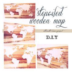 ..Twigg studios: stenciled wooden map diy