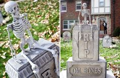 Made witn a toy skeleton, styrofoam blocks and stone-look paint.