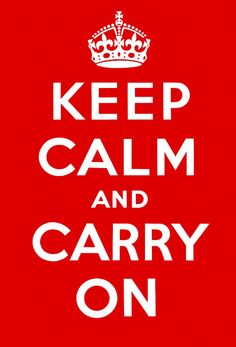 Designed by the British Ministry of Information during WWII, the original Keep Calm and Carry On red poster was used to calm the nerves of the public and help boost morale (c. 1939)