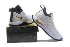 96894f422753 Nike PG 2 Paul George White Gold Black Men s Basketball Shoes Nike Paul  George