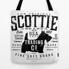 Scottie Trading company Scottish Terrier Dog soft goods vintage style graphic Tote Bag by gemini studio art by Stephen Fowler - $22.00