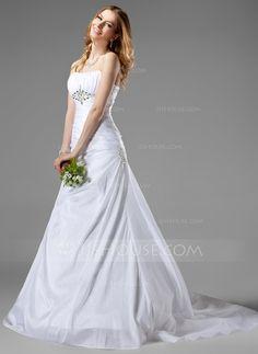 Wedding Dresses - $183.99 - A-Line/Princess Sweetheart Chapel Train Taffeta Wedding Dress With Ruffle Beadwork (002001186) http://jjshouse.com/A-Line-Princess-Sweetheart-Chapel-Train-Taffeta-Wedding-Dress-With-Ruffle-Beadwork-002001186-g1186