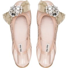 Miu Miu Ballerina (£505) ❤ liked on Polyvore featuring shoes, flats, jeweled ballet flats, patent leather flats, ballerina shoes, ballerina flat shoes and patent leather ballet flats