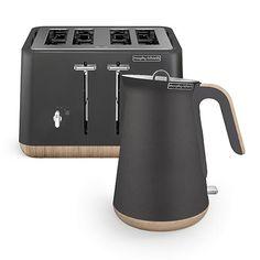 Scandi Titanium Aspect Kettle and 4 Slice Toaster Set (wooden trim) Small Appliances, Kitchen Appliances, Kitchens, Kitchen Canisters, Kitchenware, Black Toaster, Kettle And Toaster Set, Wooden Trim, Cord Storage