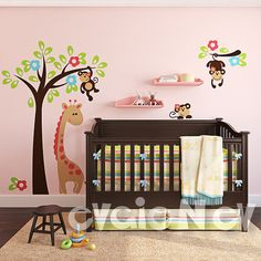 Nursery Vinyl Wall Decal - Monkeys on the Tree - Kids Wall Decals PLSF020R on Etsy, $135.00