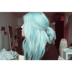 24 Photos of Blue Hair That Blow Us Away ❤ liked on Polyvore featuring beauty products, haircare and hair